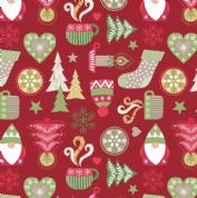 Lewis & Irene - Hygge Christmas - 5975 - Winter Motifs on Red  - C26.2 - Cotton Fabric